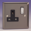 Varilight 1 Gang 13 Amp Switched Electrical Plug Socket Pewter/Slate Grey Dec Switch Black Insert